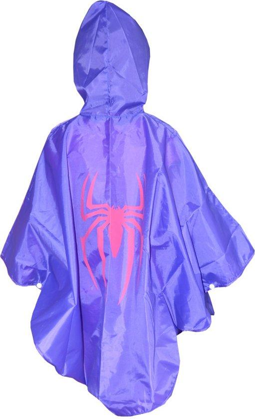 Regenponcho Kinderen | Spidergirl | 3-7 jr | regenkleding paars | KMSP008