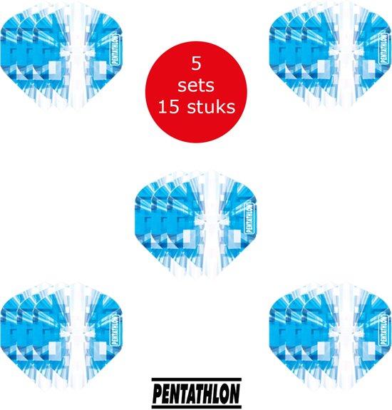 Dragon Darts - 5 sets (15 stuks) Pentathlon Explosion - darts flights - super stevig - blauw - dartflights - dart flights