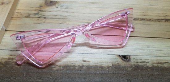 Planga zonnebril, Transparant roze glazen sixty, seventy, eighties style.