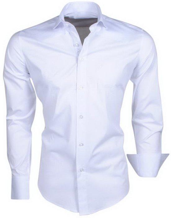 Napoli Effen Trendy Overhemd Heren Ferlucci Wit Italiaans xUFaTTS