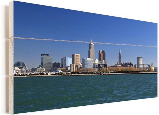 Skyline van Cleveland in de Verenigde Staten op de oever van het meer Erie Vurenhout met planken 40x20 cm - Foto print op Hout (Wanddecoratie)