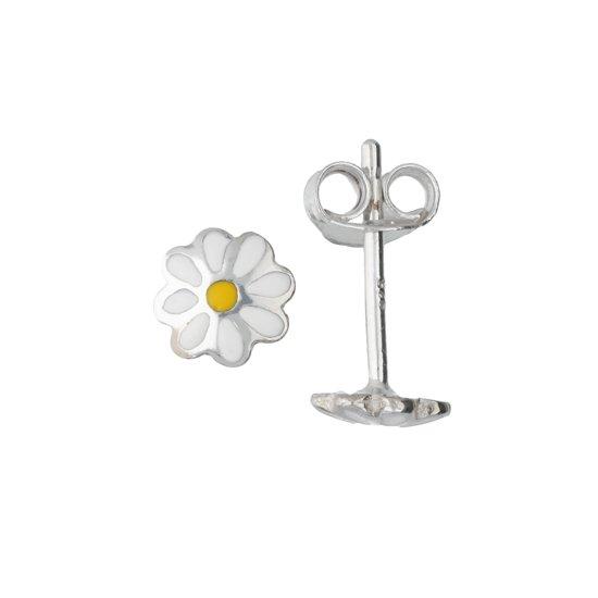 Lilly oorknopjes bloem - zilver - wit - geel - 6x6mm