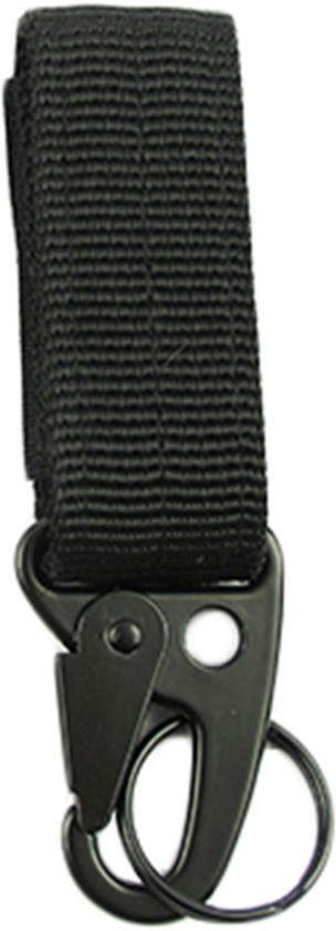 Zwarte rugtas / riem karabijnhaak met sleutelring - NBH®