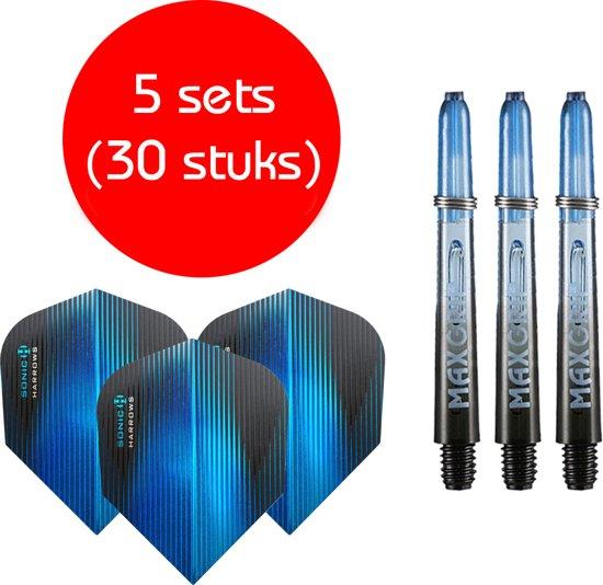 Dragon darts - Maxgrip – 5 sets - darts shafts - zwart-blauw - inbetween – en 5 sets – Sonic blauw – darts flights
