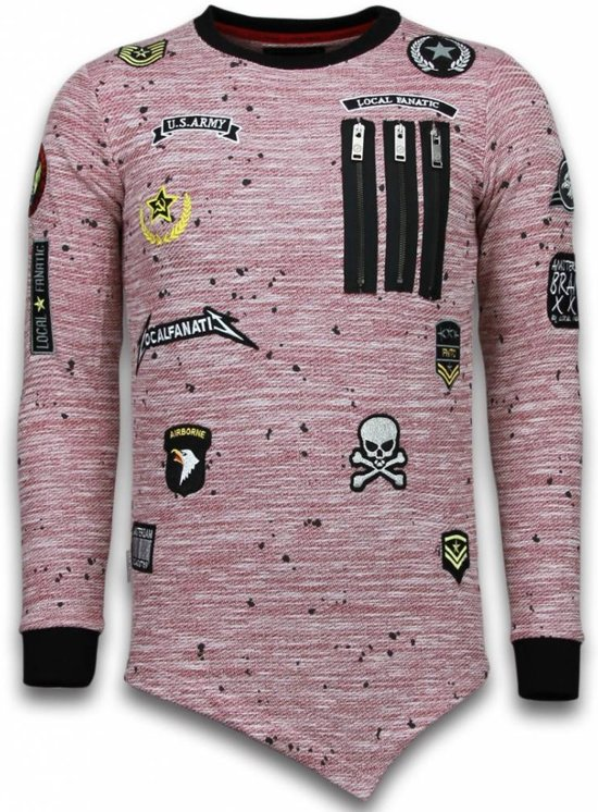 Roze Longfit MatenXxl EmbroiderySweater Army Us Fanatic Asymmetric Patches Local torCxBsQdh