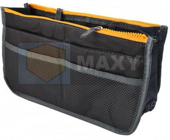 6386231f1eb Tas Organizer – Bag in Bag - Toilettas - Grijs-Oranje - 11 vakken -