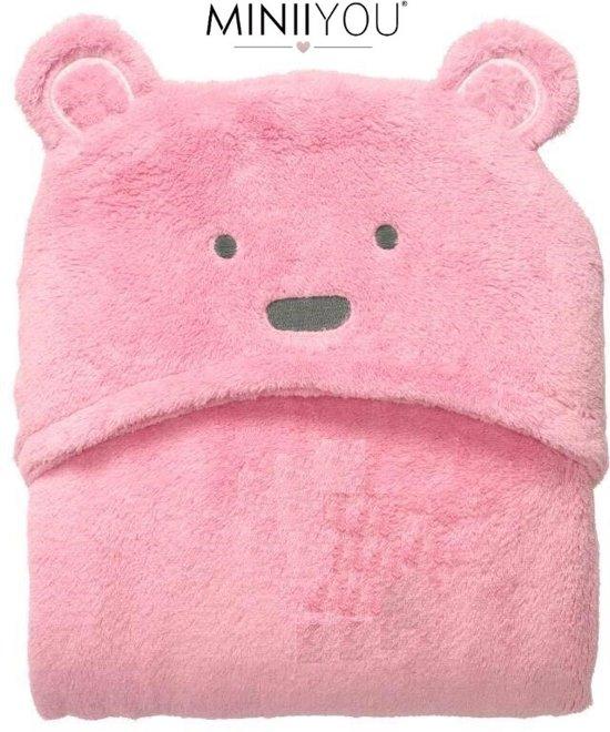Zachte roze beer fleece deken baby en peuters | Deken Kinderen | wikkeldeken | badcape met capuchon dier | Dekentje baby & peuter 0-3 jaar