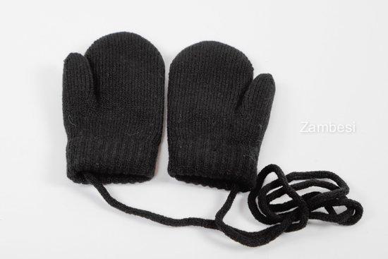 Kinderen wanten met koordjes / dubbel pels voering / Zwart / 2-6jaar