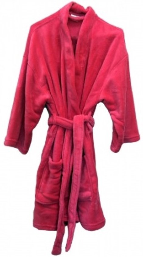 Badjas met shawlkraag coral fleece fuchsia one size fits all