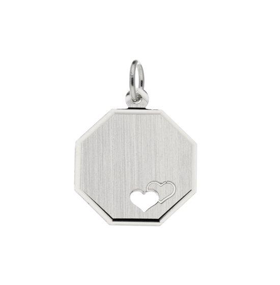 Classics&More hanger - graveerplaatje - zilver - 21 mm - achthoek - harten