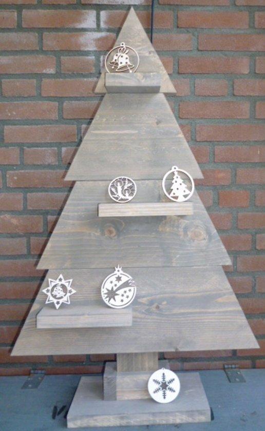 Houten kerstboom bruin steigerhout 90cm for Houten tuinkast intratuin