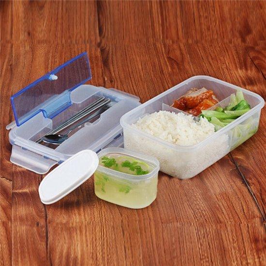 Transparante Bento Lunch Box 1000 ml - Met Soepkom / Soeplepel & Eetstokjes Set - Japanse Broodtrommel / Lunchbox / Broodbox / Met Vakjes - Inclusief Bestekbak & BPA Vrij