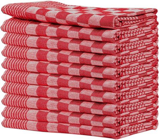 Queens 10-pack theedoeken 65x65 cm rood