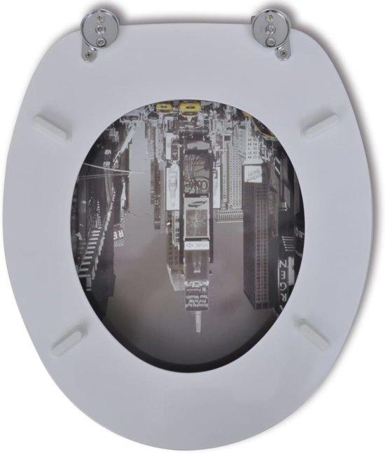 vidaXL Toiletbril met hard-closedeksel 2 st MDF New York
