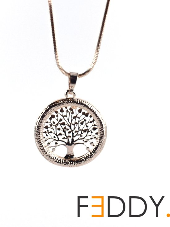 Ketting + tree of life hanger met CZ rand gold plated rose kleur