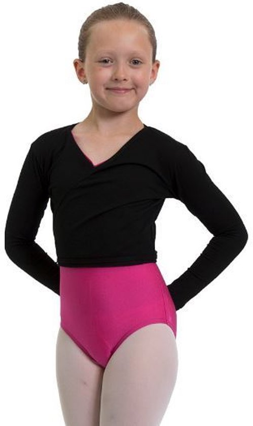 Balletvestje Overslag Tricot Zwart - Maat  134/140