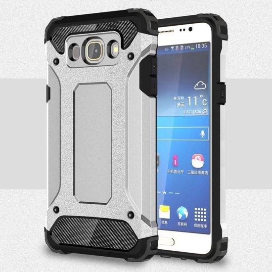 GSMWise - Samsung Galaxy J7 (2016) Stevig Hybride Beschermhoesje met Aluminium Backcover Shockproof - Zilver Grijs in Mennonietenbuurt