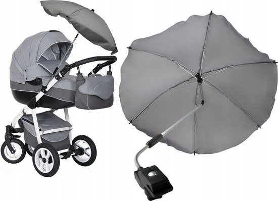 cb206c8a61a Universele Kinderwagen Parasol Paraplu - Baby Buggy UV Zonnescherm Regenhoes  - Universeel - Grijs