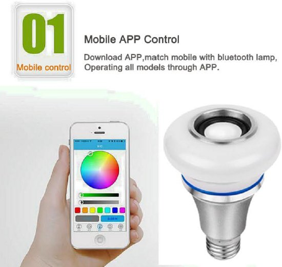 SMART-CONTROLLED MUSIC LED-LAMP – 5W RGB+ – 3W BLUETOOTH SPEAKER - 1 stuk