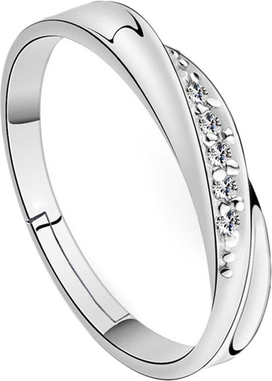 Verzilverde verstelbare S925 Ring met Zirkoon steen