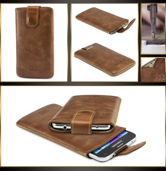 Echt Leer cover - Samsung Galaxy S6 cover - Lederen insteekhoes Bruin - MultiCase (Rustic Cognac) in Thiaumont