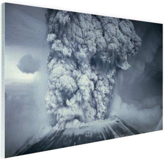 FotoCadeau.nl - Uitbarsting vulkaan zwart wit Glas 30x20 cm - Foto print op Glas (Plexiglas wanddecoratie)