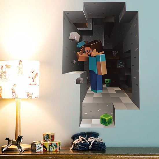 bol.com | 3D Minecraft Game Muursticker / Poster Jongens Slaapkamer