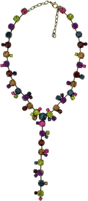 Y ketting multi color met kristalglas steentjes