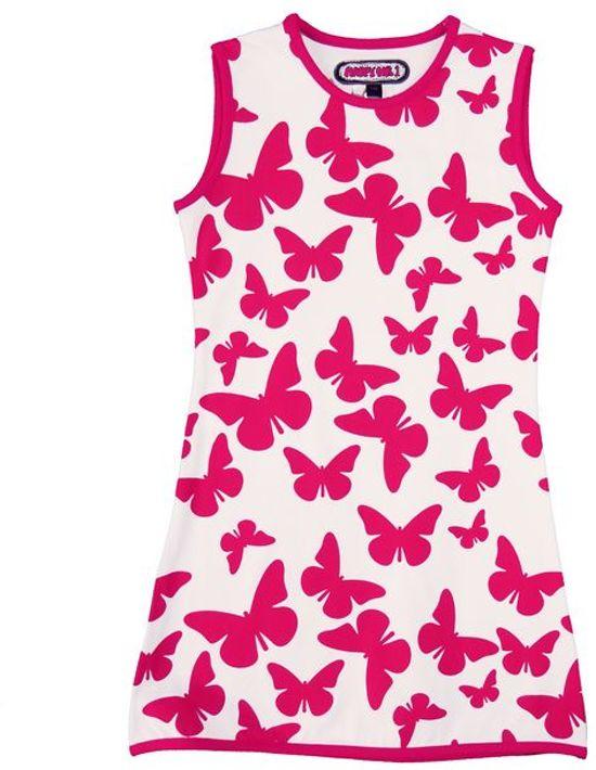 Happy Nr. 1-jurk, zomerjurk-kleur: wit, roze-Vlinders-maat 128
