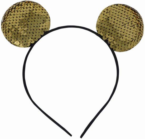 Jessidress Haar Diadeem met Omgekeerbare Pailletten Haarband met oortjes Hoofdband -Goud