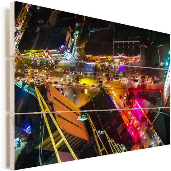 Kleuren in Manila vanaf boven Vurenhout met planken 90x60 cm - Foto print op Hout (Wanddecoratie)