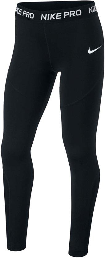 Nike Pro Tight Meisjes Sportbroek - Maat S  - Unisex - zwart/wit Maat 128-140