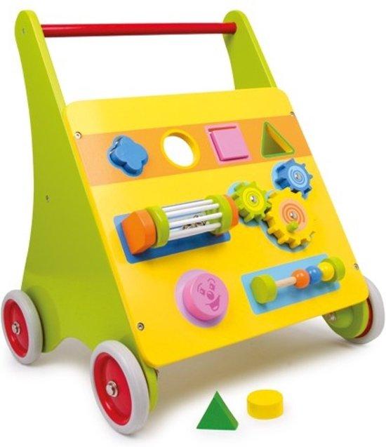 Houten loopwagen Mico - met leuke spelletjes - educatief