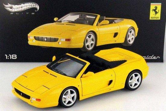 Ferrari F355 355 Spider geel 1:18 Hot Wheels ELITE