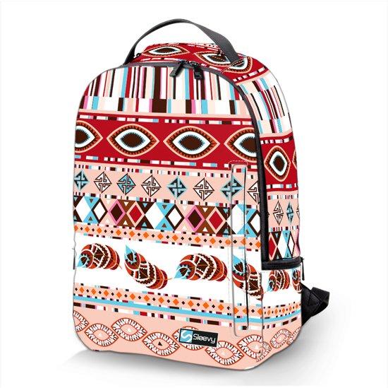Laptop rugzak 15,6 Deluxe roze veren patroon - Sleevy - schooltas