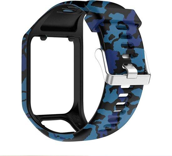 KELERINO. Siliconen bandje voor TomTom Runner 2/3 & Spark 2/3 - Camouflage Blauw
