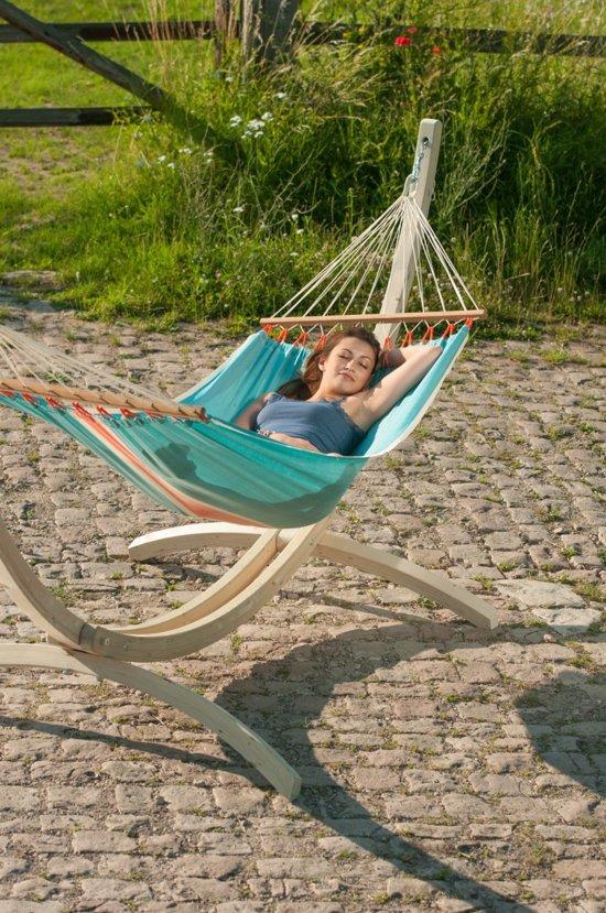 Hangmatset: 1-persoons hangmat met spreidstok FRUTA curaçao + Standaard voor 1-persoons hangmat  CANOA