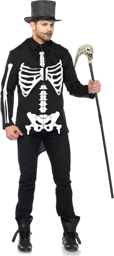 Bone Daddy heren kostuum zwart/wit - Kostuum Party Halloween - XL - Leg Avenue