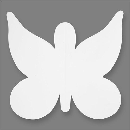 Vlinders, h: 23 cm, b: 25 cm, wit, 16stuks, 230 gr