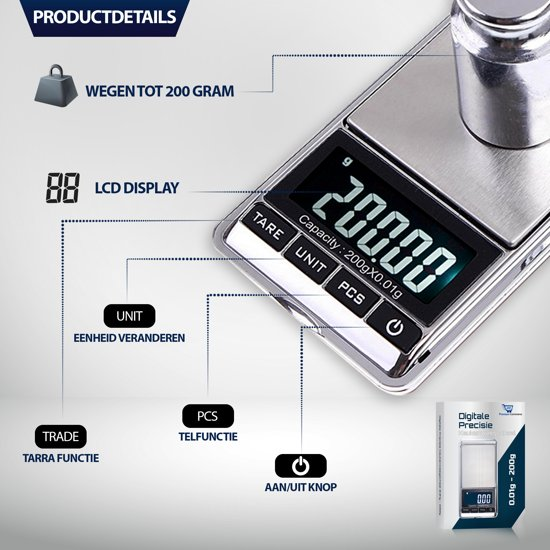 Mini Weegschaal | Keukenweegschaal | Precisie Weegschaal | Digitale Weegschaal | Professioneel | 0,01 tot 200 Gram