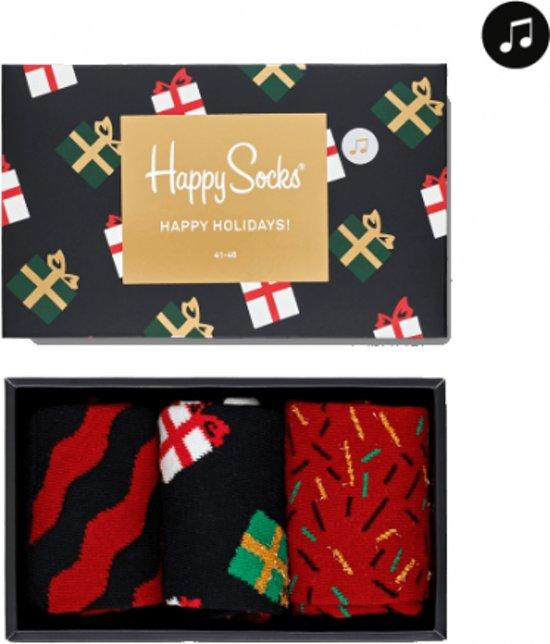 Happy Socks Kerst Giftbox met Muziek - Zwart/Rood - Maat 36-40