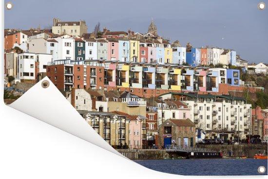 Huizen langs het water in het Engelse Bristol Tuinposter 90x60 cm - Tuindoek / Buitencanvas / Schilderijen voor buiten (tuin decoratie)