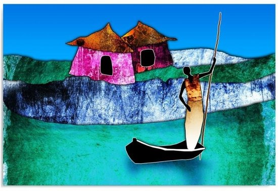 Schilderij - Afrika, op de rivier, blauw,/paars/groen,1 deel