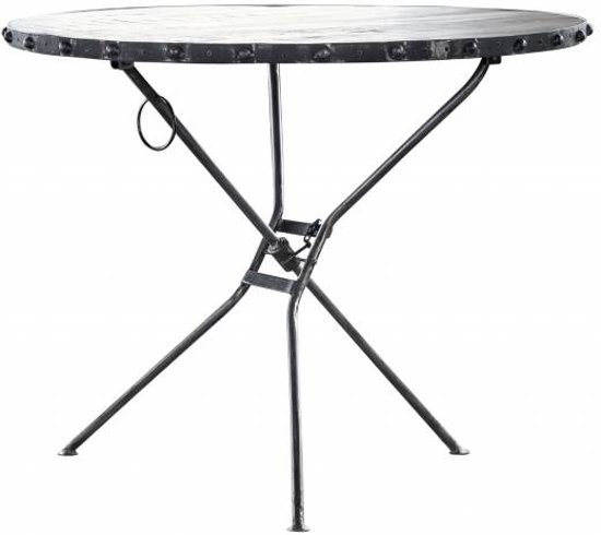Duverger - Ruf Grey Industry - Eettafel - mangohout - rond - Ø 100x76cm - metalen 3-potig onderstel
