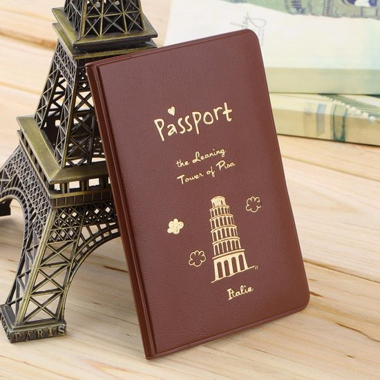 Stijlvolle, Duurzame Paspoorthoes / Paspoorthouder / Paspoort map / Hoes / Houder / Etui / Hoesje / Cover / Portefeuille - Voor Vakantie en Reizen - Koffiekleurig