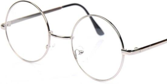 Bril zonder sterkte met glazen | Rond zilver | Dames & Heren | Bril rond