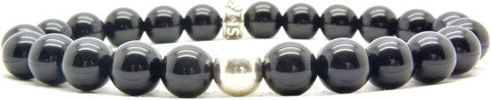 Beaddhism - Armband - Black - Silver Bead - 8 mm - 18 cm