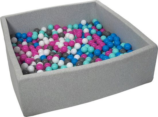 Ballenbak - stevige ballenbad - 120x120 cm - 600 ballen Ø 7 cm - wit, blauw, roze, grijs, turquoise.