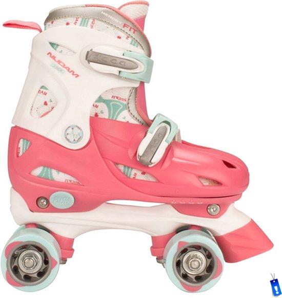 Rolschaatsen Rollerskates - Meisjes Verstelbaar - Roze/Wit/Grijs - Maat 30-33