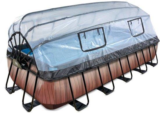EXIT zwembad Wood 540x250cm met overkapping en zandfilterpomp - bruin
